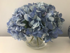 Artificial Hydrangea in Sphere Vase, Blue Flower, Large