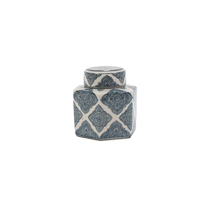 Ivory and Blue Ginger Jar Hexagonal Small