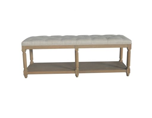 Jody Weathered Oak Bench Natural Linen