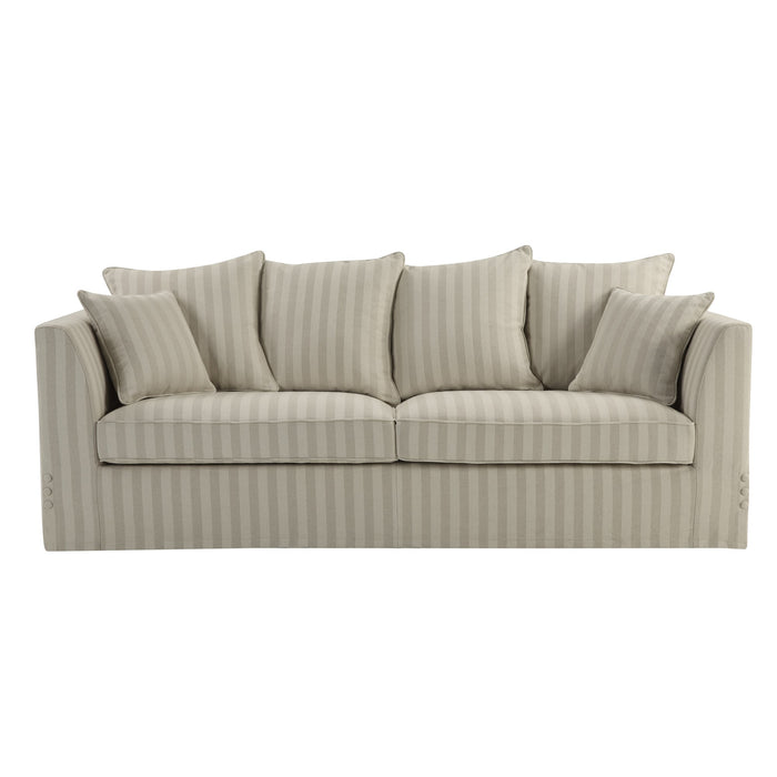 Natural Linen Stripe 3 Seater Sofa