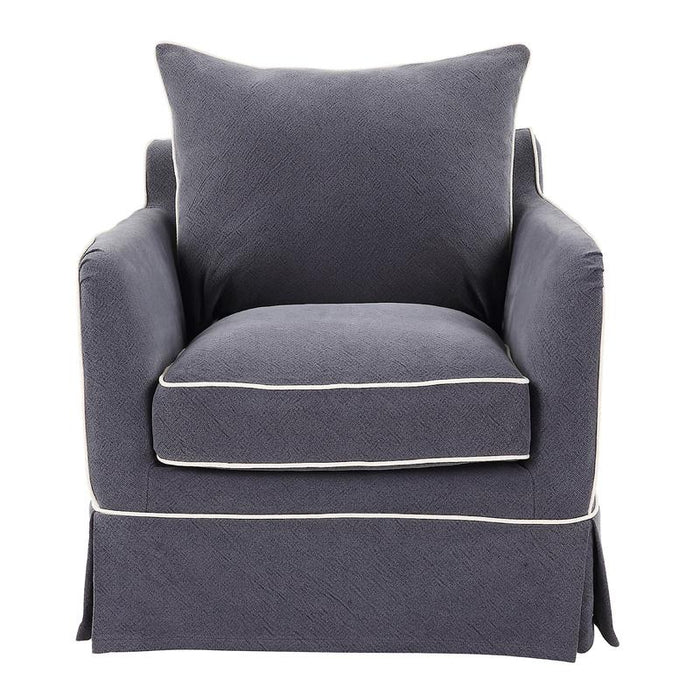 Navy Slip Cover Armchair with White Piping