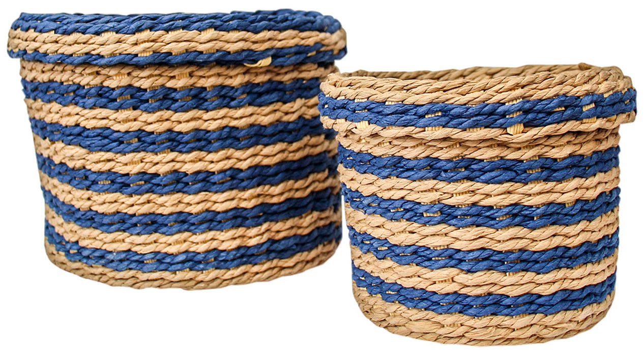 Woven Tidy Basket Set of 2 Navy
