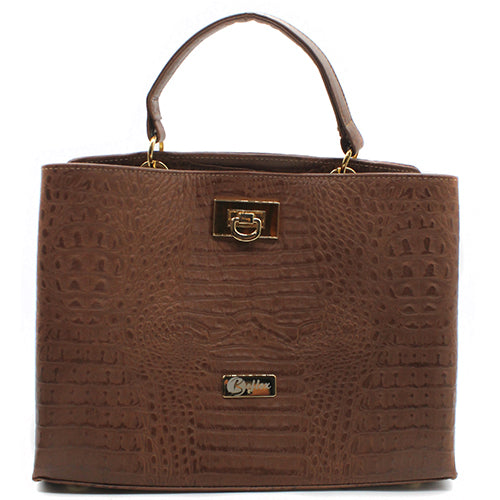 Cartera Crocco Café Marrón Cuero Natural