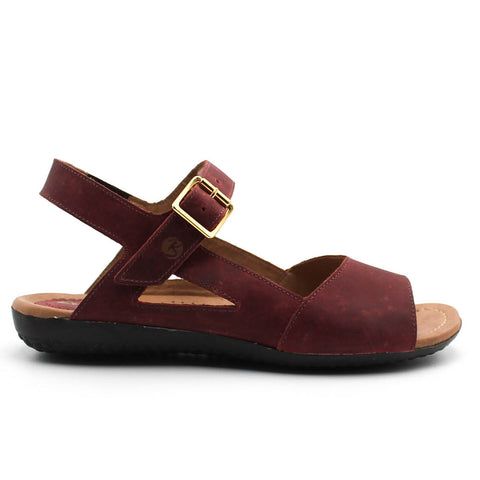 Sandalia Cuero Casual Bordo Be Flex