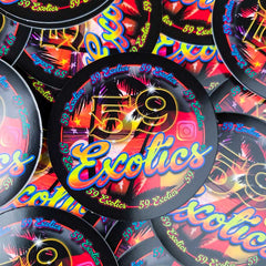 59 exotics die cut sticker