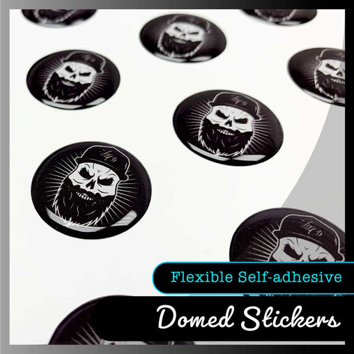 Domed resin labels