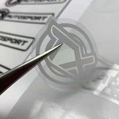 Close up of white ink on clear vinyl