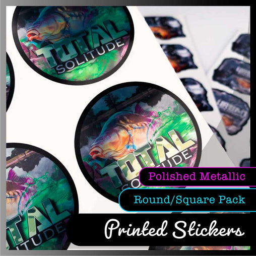 Polished Metallic Round or Square Stickers - Multiple Sizes and Quantities to choose from.