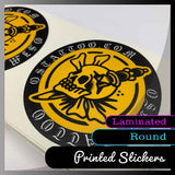 Laminated Custom round stickers - Many sizes and finishes to choose from.