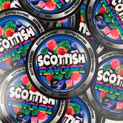 die cut scottish flavour stickers