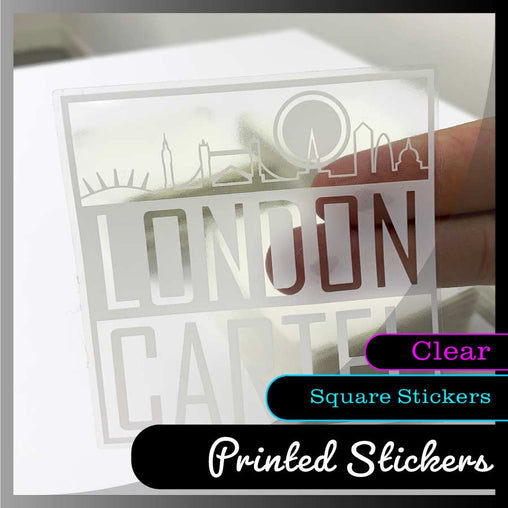 Transparent Square Stickers - White ink option available - Smash signs ltd