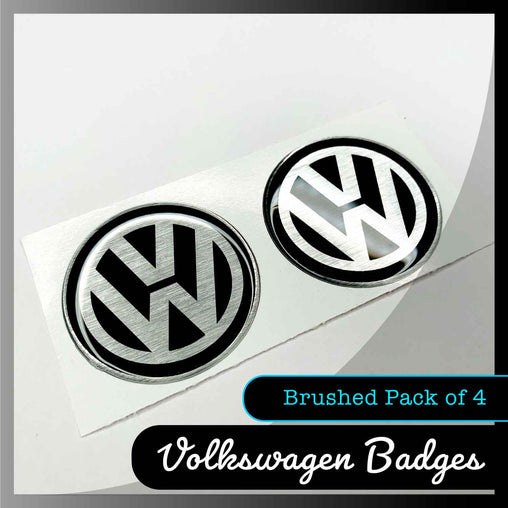 brushed volkswagen badges display
