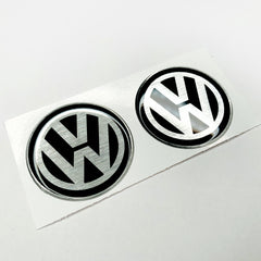 volkswagen brushed silver domed resin stickers