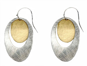 Takobia Earrings- two tone double dangling oval