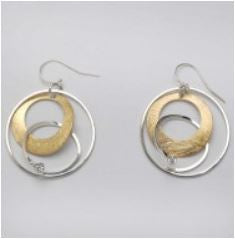Takobia Earrings- two toned layered hoops with crystal