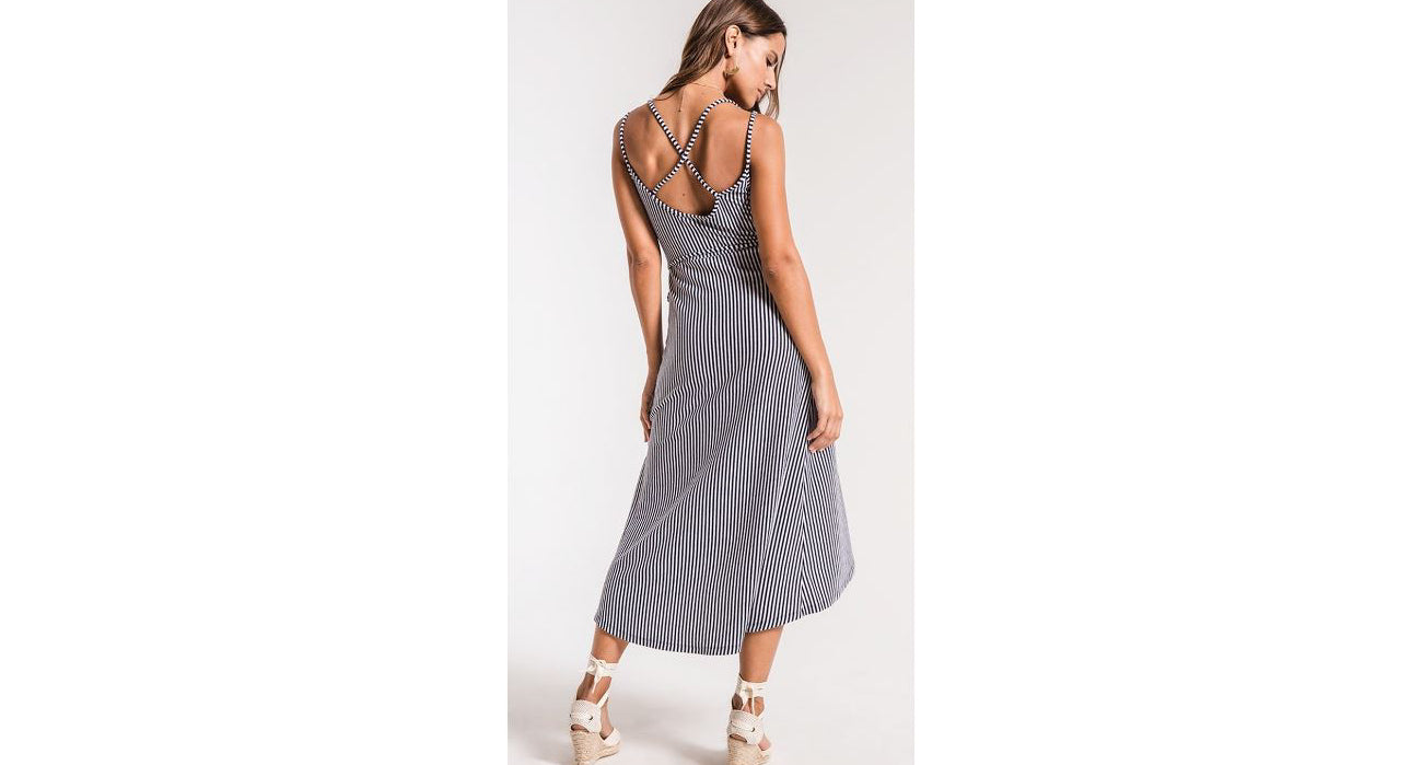 Capri Wrap Dress in Black Iris/White by Z Supply