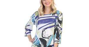 Three Quarter Sleeve Top Abstract Print Top in MultiColored/White by Jess and Jane