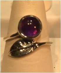 Ring Amethyst Feather detail sterling silver Sz 8