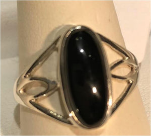 Ring Black Onyx Long Oval Sterling Silver Sz 7