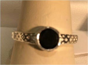 Ring Black Onyx Round Sterling Silver Sz 8