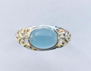 Ring Blue Chalcedony Oval Scroll Accent Sterling Silver sz 7