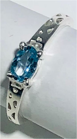Ring Blue Topaz Filigree Detail Sterling Silver Sz 6