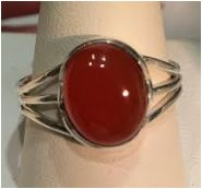 Ring Carnelian Oval Sterling Silver Sz 7