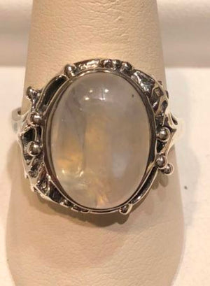 Ring Moonstone Oval Sterling Silver Sz 8