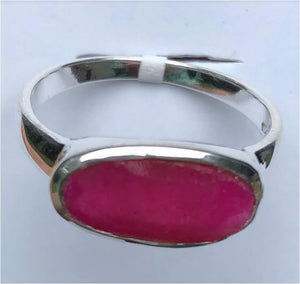 Ring Ruby Enhanced Sideways Oval Sterling Silver sz 7