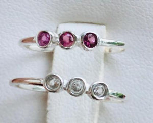 Ring Semi-Precious Triple Stone Round Simple Sterling sz 7
