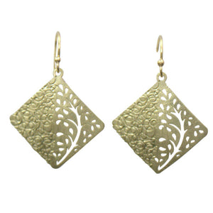 Takobia Earrings- gold dangling etching with tree