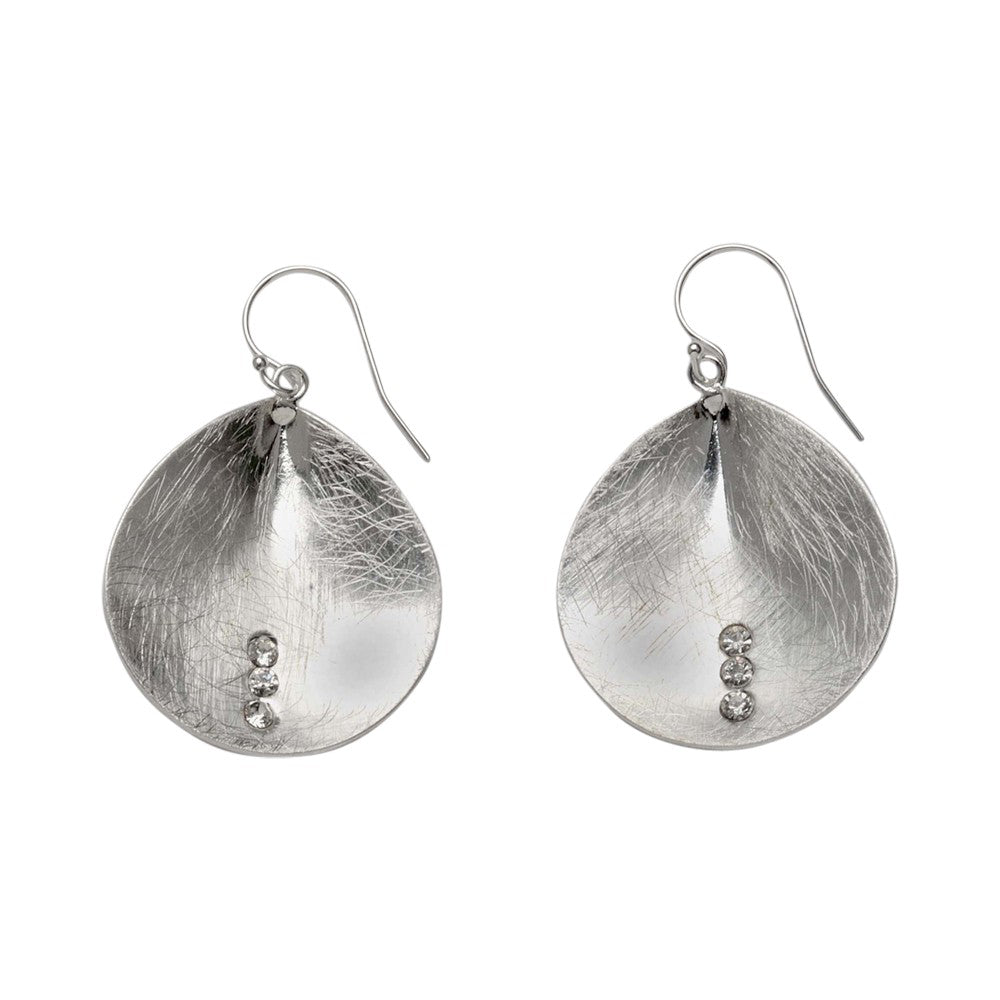 Takobia Earrings- silver dangling petal with crystals