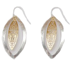 Takobia Earrings- dangling gold filigree leaf in silver circle