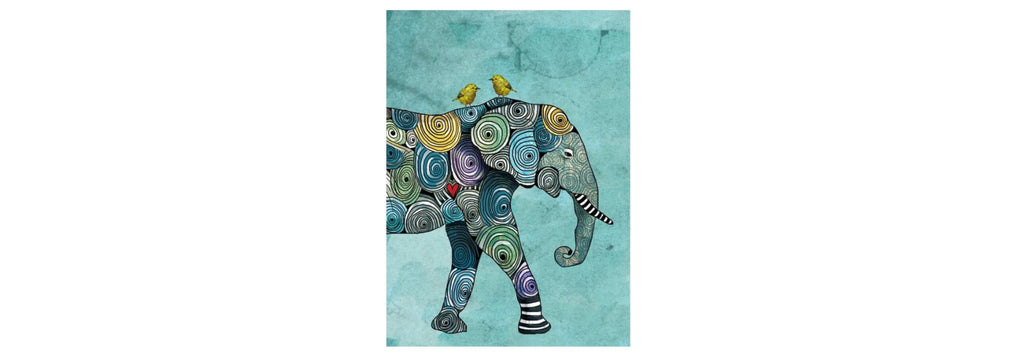 Elephant and Yellowbird All Occasion Greeting Card