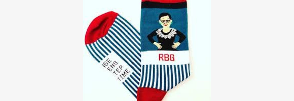 Socks Ruth Bader Ginsburg Striped Crew Teal by Maggie Stern Stitches
