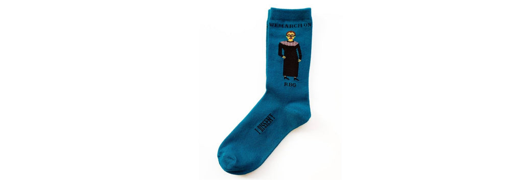 Socks Ruth Bader Ginsburg Teal by Maggie Stern Stitches