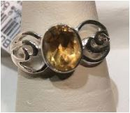 Ring Citrine Oval Stone Sterling Sz 7