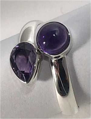 Ring amethyst double stone - round & pear sterling silver Sz 8