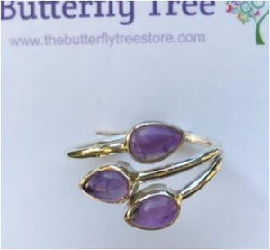 Ring amethyst teardrop triple adj sterling silver sz 8
