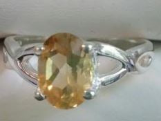 Ring Citrine Oval Criss Cross Sz 7
