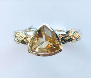 Ring Citrine Triangle Braided Band Sterling Silver Sz 6