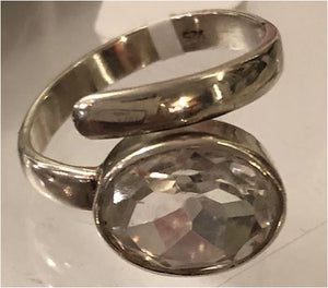 Ring Crystal Quartz Oval Sterling Silver Sz 7 Adjustable