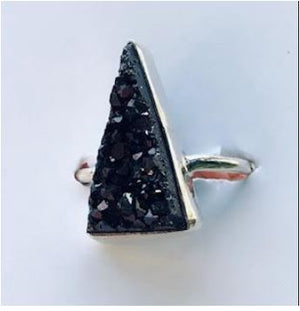 Ring Druzi Black Triangle Sterling Silver Sz 6