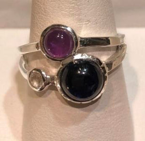 Ring Iolite with Amethyst Sterling Silver Sz 7
