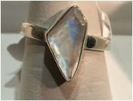Ring Moonstone Triangle Sterling Silver Sz 7