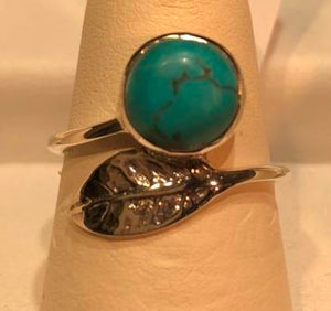 RIng Turquoise Feather Detail Sterling Silver Sz 7