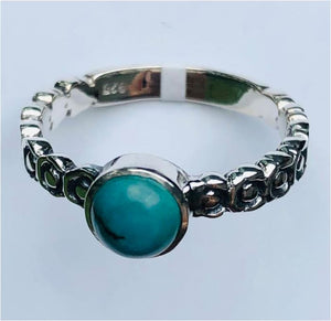 Ring Turquoise Round Beaded Band Sterling Silver sz 7