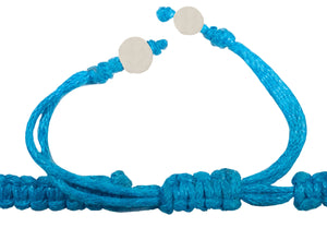 All natural Hand carved Starfish Tagua charm on a hand woven cotton bracelet by Tu y Yo (Denim Blue)