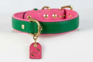 Emerald and Pink Dog Collar