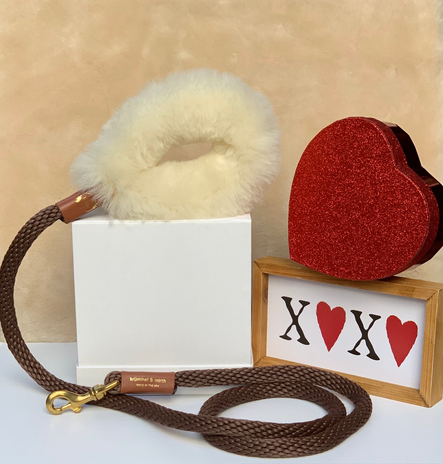 Genuine Shearling, Leather, & Nylon Rope Leash For Dogs: The St. Moritz